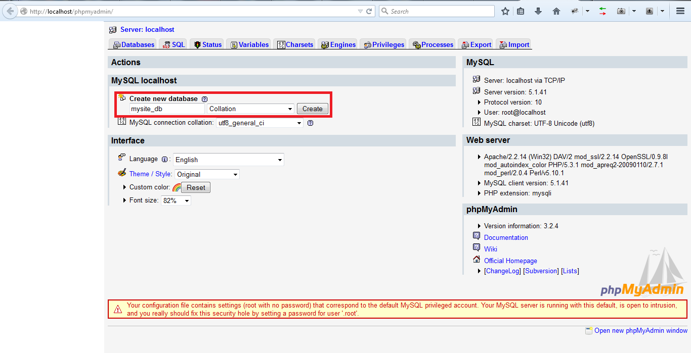 create database phpmyadmin