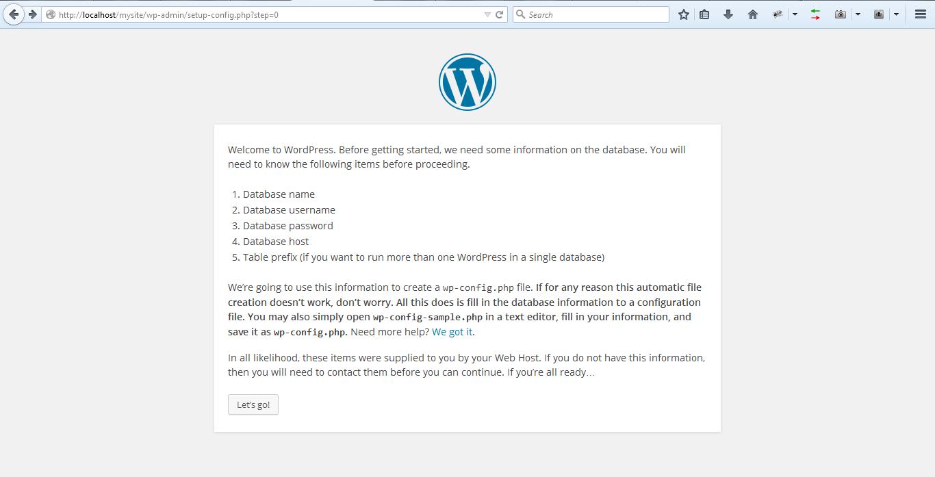 wordpress setup db info