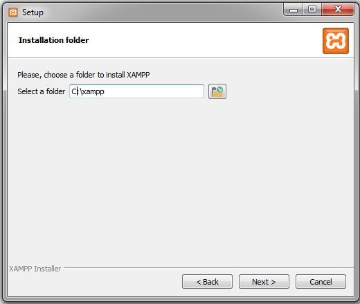 xampp choose folder for installation
