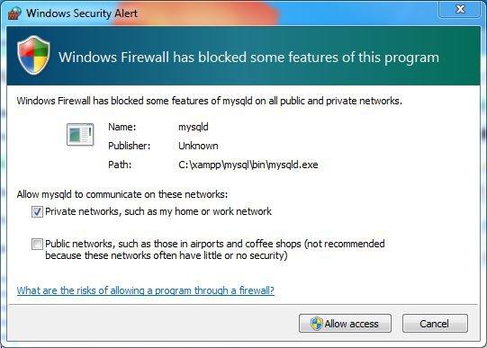 xampp firewall warning