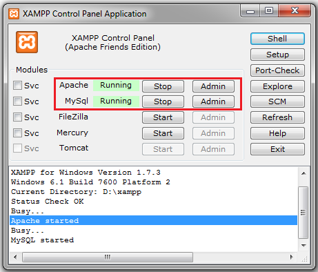 xampp running on local machine