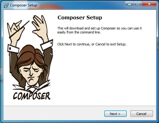 Composer Setup Start on Windows